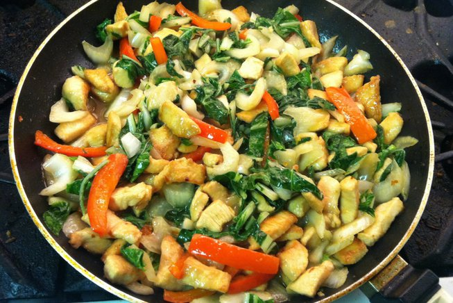 Stir Fry with Ginger Sauce with Bok Choy