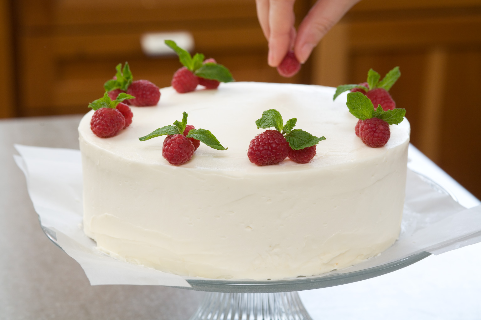 Decorate Cake With Fruit And Nuts